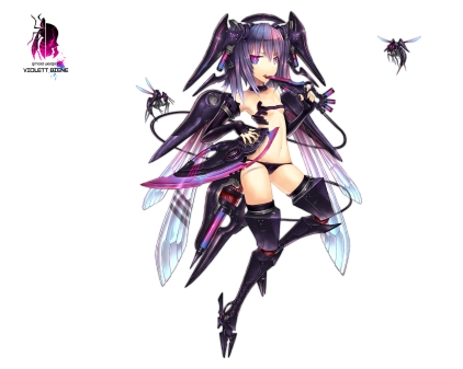 Konachan.com - 126446 anthropomorphism gia gun knife original purple_hair weapon white wings