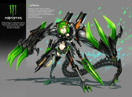 Konachan.com - 142400 anthropomorphism drink gia green_hair orange_eyes original short_hair weapon