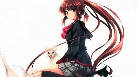 Konachan.com - 152226 animal bow cat jpeg_artifacts little_busters! long_hair natsume_rin ponytail skirt thighhighs white