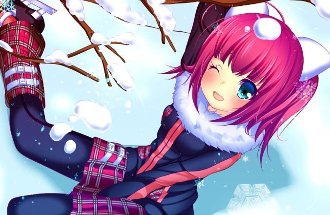 Konachan.com - 152251 blush haruta pantyhose short_hair skirt snow tagme_(character) wink yuki_to_urin-chan