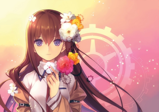 Konachan.com - 148336 blush brown_hair flowers jpeg_artifacts long_hair makise_kurisu misti purple_eyes steins;gate tie