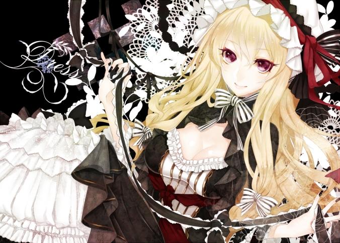 Konachan.com - 164974 blonde_hair cleavage dress hat red_eyes touhou ut_(apt) yakumo_yukari