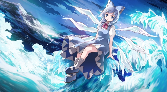 Konachan.com - 166866 blue_eyes blue_hair bow cirno dress risutaru short_hair socks touhou water wings