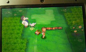 Kurz darauf finde ich Professor Birk, der von einem Fiffyen angeknurrt wird. Baka...hinter ihm ist Gras, er könnte einfach wegrennen. Aber egal...tun wir ihm halt den Gefallen und retten ihn mit einem der Pokemon aus dem Beutel...