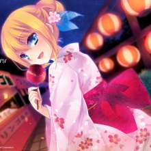 Konachan.com - 110107 aizawa_hikaru apple aqua_eyes blonde_hair candy festival food fruit japanese_clothes microsoft os-tan summer yukata