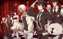 Konachan.com - 242918 animal aqua_eyes bandage black_hair breasts brown_hair dress glasses green_eyes group hat male pink_eyes short_hair tie white_hair wink zapp_renfro