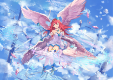Konachan.com - 243176 aqua_eyes boots breasts clouds dress elbow_gloves gloves instrument long_hair magic music original petals red_hair sky thighhighs wings