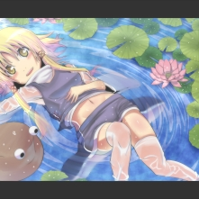 Konachan.com - 243493 blonde_hair blush hat irie_(masaki) long_hair moriya_suwako navel see_through skirt touhou water wet yellow_eyes