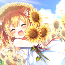 Konachan.com - 246093 amamine animal_ears blonde_hair blush bow catgirl clouds dress flowers hat loli original petals ribbons short_hair sky summer sunflower tail waifu2x