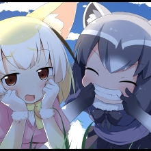 Konachan.com - 246875 2girls animal_ears anthropomorphism black_hair blonde_hair blush bow brown_eyes clouds foxgirl grass kemono_friends makuran_(m-kun) skirt sky tail