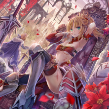 Konachan.com - 246993 blonde_hair boots braids breasts cape crown flowers green_eyes mordred navel petals ponytail ribbons saber short_hair sword thighhighs weapon