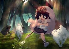 Konachan.com - 248123 animal brown_hair forest loli mononoke_hime onion_pikupiku san tree weapon wolf