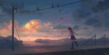 Konachan.com - 248870 animal bird brown_eyes brown_hair clouds feel_(nasitaki) kneehighs original scenic seifuku short_hair signed skirt sky