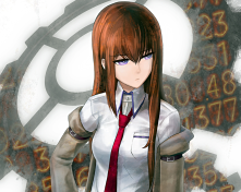 Konachan.com - 249763 brown_hair cropped long_hair makise_kurisu purple_eyes ranh steins;gate tie