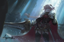 Konachan.com - 249848 all_male armor astolfo cape dress fang fate_(series) garter_belt kang_kang_zi male pink_eyes pink_hair stockings sword thighhighs trap weapon