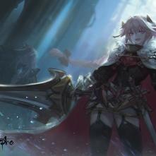 Konachan.com - 249848 all_male armor astolfo cape dress fang fate_(series) garter_belt kang_kang_zi male pink_eyes pink_hair stockings sword thighhighs trap weapon