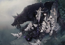 Konachan.com - 250149 animal armor black_hair long_hair original purple_eyes sword thighhighs wanke weapon wolf