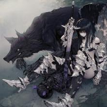 Konachan.com - 250149 animal armor black_hair long_hair original purple_eyes sword thighhighs wanke weapon wolf
