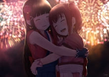 Konachan.com - 250575 2girls black_hair fireworks gloves hug kurosawa_dia kurosawa_ruby long_hair love_live!_sunshine!! papillon10 red_hair signed twintails