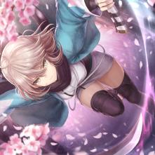 Konachan.com - 250858 breasts cherry_blossoms fate_(series) katana mashu_003 petals saber sakura_saber scarf short_hair sword thighhighs weapon zettai_ryouiki