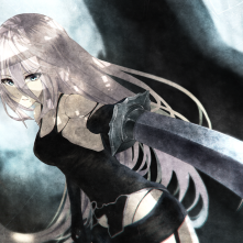 Konachan.com - 250904 aeus blue_eyes forest long_hair nier nier _automata signed sword torn_clothes tree weapon white_hair yorha_unit_no._2_type_a