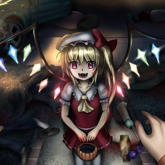 Konachan.com - 118587 blonde_hair blood flandre_scarlet halloween hweggi red_eyes tagme touhou vampire wings