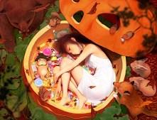 Konachan.com - 147401 animal barefoot bear bird brown_hair candy cat dress fox halloween original oshou_(classic1418408) pumpkin rabbit