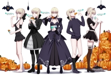 Konachan.com - 213095 boots breasts cleavage dress drink food garter goth-loli halloween kneehighs maid panties pantyhose pumpkin saber sideboob underwear wristwear
