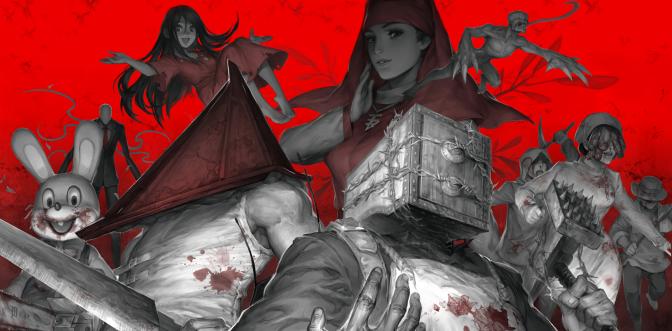 Konachan.com - 220352 blood corpse_party creepypasta pyramid_head red resident_evil silent_hill slenderman tagme_(character) the_evil_within waifu2x weapon yufy