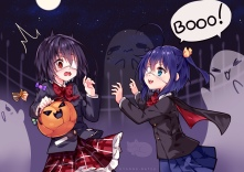 Konachan.com - 230019 2girls another blue_hair blush bow candy cape cosplay eyepatch fang moon night ponytail pumpkin red_eyes seifuku sky stars tears vampire watermark