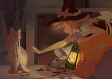 Konachan.com - 230085 animal blonde_hair braids brown_eyes candy cat halloween hat jq kirisame_marisa long_hair necklace pumpkin touhou witch witch_hat