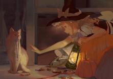 Konachan.com - 230085 animal blonde_hair braids brown_eyes candy cat halloween hat jq kirisame_marisa long_hair necklace pumpkin touhou witch witch_hat