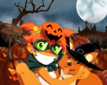 Konachan.com - 24165 animal cosplay cowboy_bebop dog edward_wong_hau_pepelu_tivrusky_iv ein_(cowboy_bebop) goggles halloween hat orange_hair short_hair twintails witch