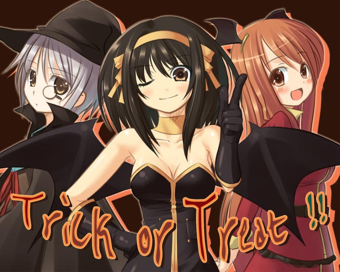 Konachan.com - 6497 asahina_mikuru black_hair blush breasts brown_eyes cleavage halloween long_hair nagato_yuki purple_hair red_hair short_hair suzumiya_haruhi witch
